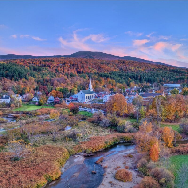 Aerial view of Stowe, Vermont.
