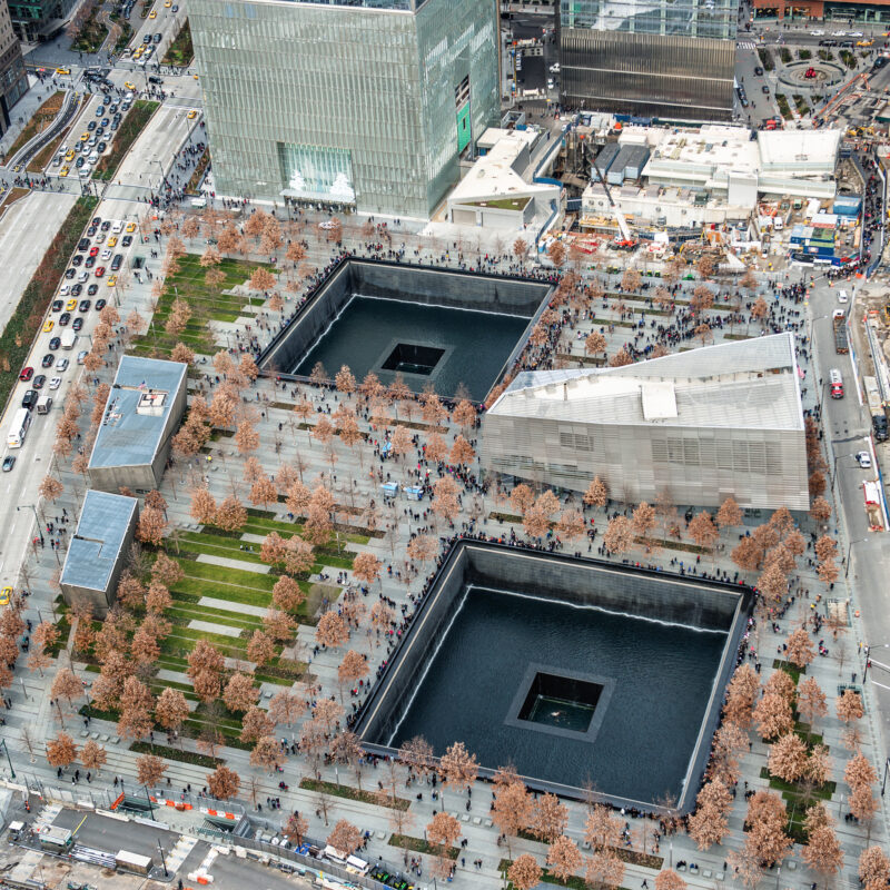 Aerial view of the 9/11 Memorial and Museum in New York City.
