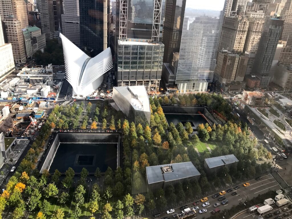 Aerial view of the 9/11 Memorial and Museum.