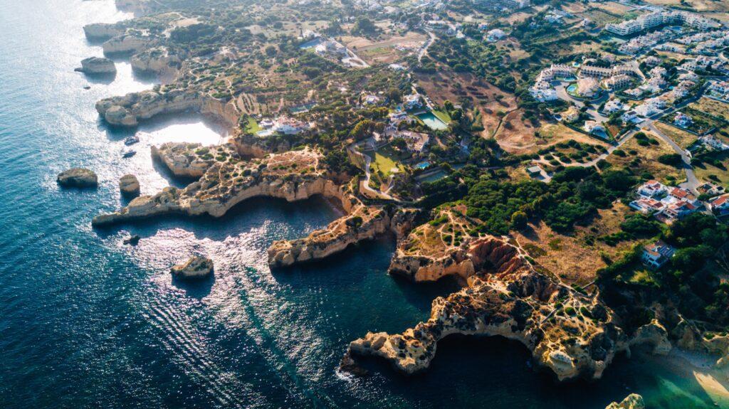 Aerial view of the Algarve coast near Benagil Caves.