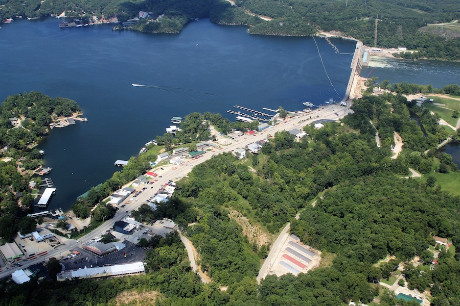 Aerial view of the Bagnell Dam and Bagnell Dam Strip.