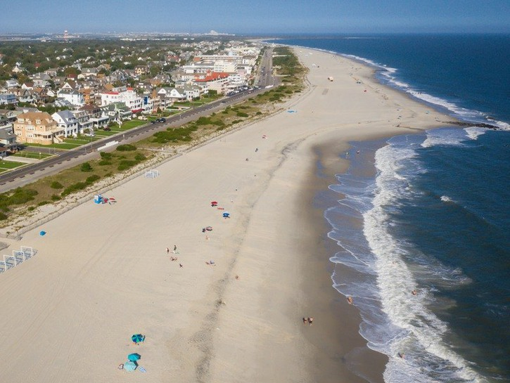 Aerial view of the beach in Cape May, New Jersey.