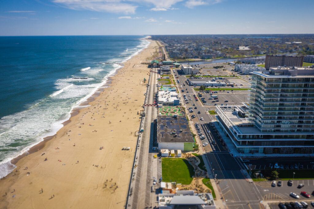 Aerial view of the boardwalk and beach at Asbury Park.
