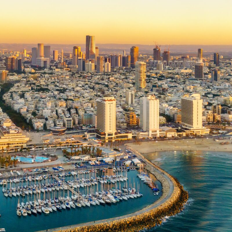 Aerial view of the city of Tel Aviv.