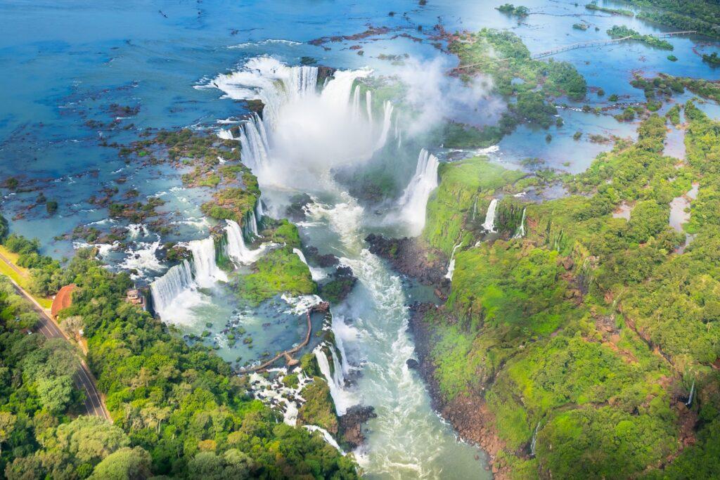 Aerial view of the Devil's Throat at Iguazu Falls.