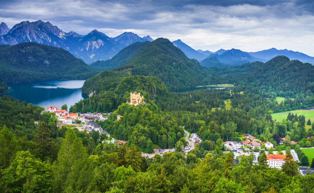 Aerial view of the German city of Schwangau.