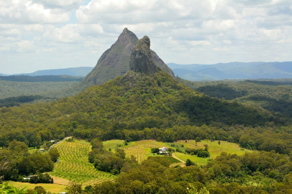 Aerial view of the Glass House Mountains.