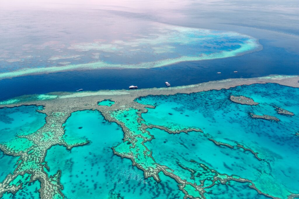 Aerial view of the Great Barrier Reef in Queensland, Australia.