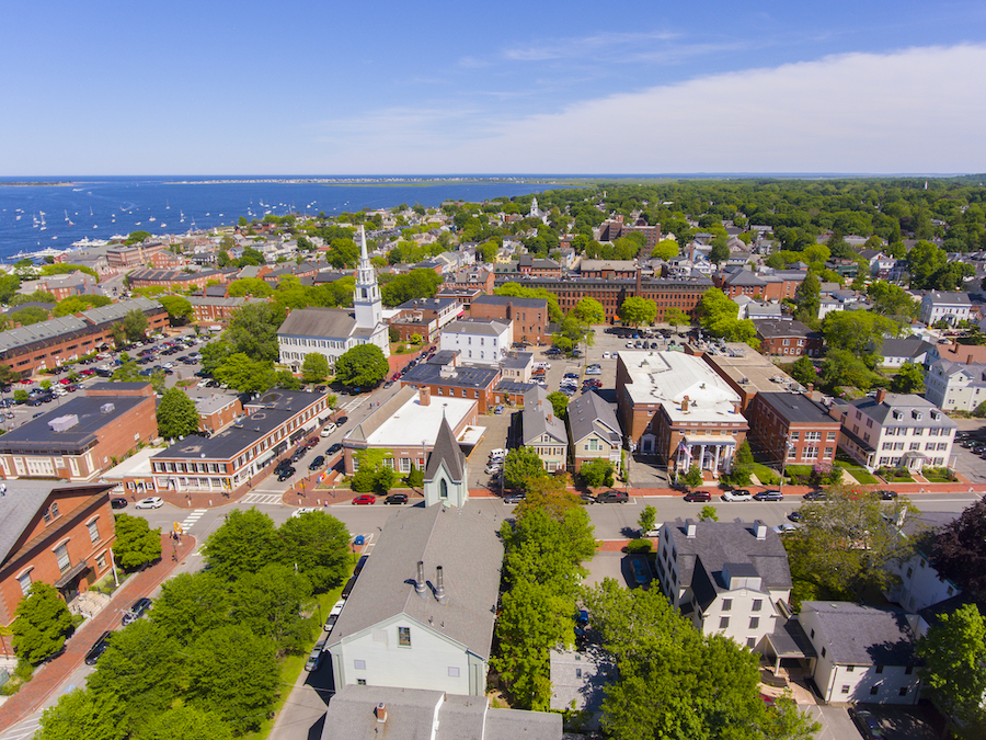 Aerial view of the historic district of Newburyport.
