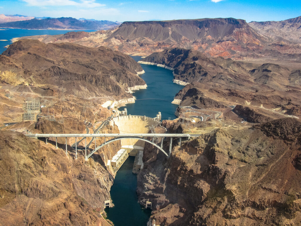 Aerial view of the Hoover Dam in Boulder City, Nevada.