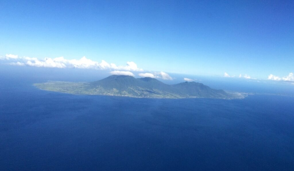 Aerial view of the island Nevis.
