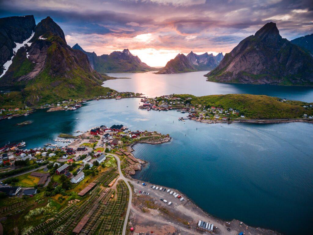 Aerial view of the Lofoten Islands in Norway.