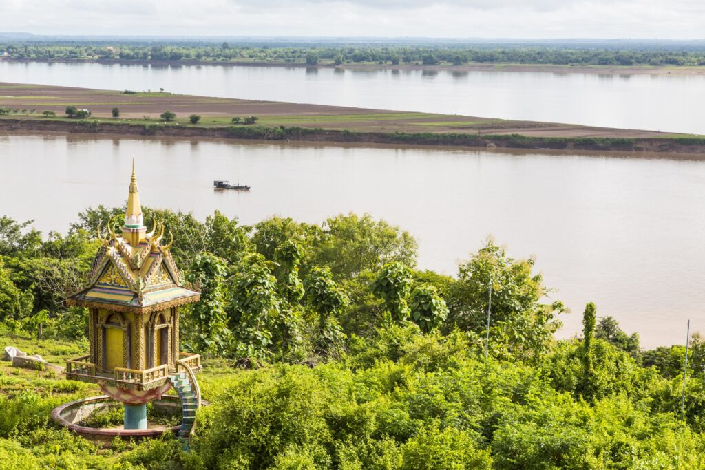 Aerial view of the Mekong River in Cambodia.