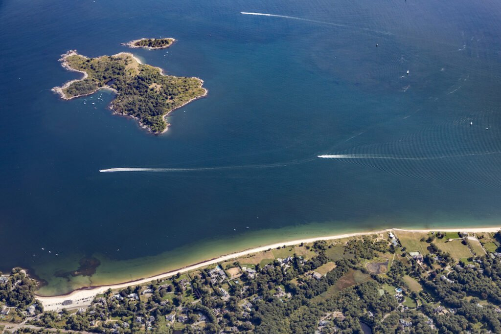 Aerial view of the Misery Islands in Massachusetts.