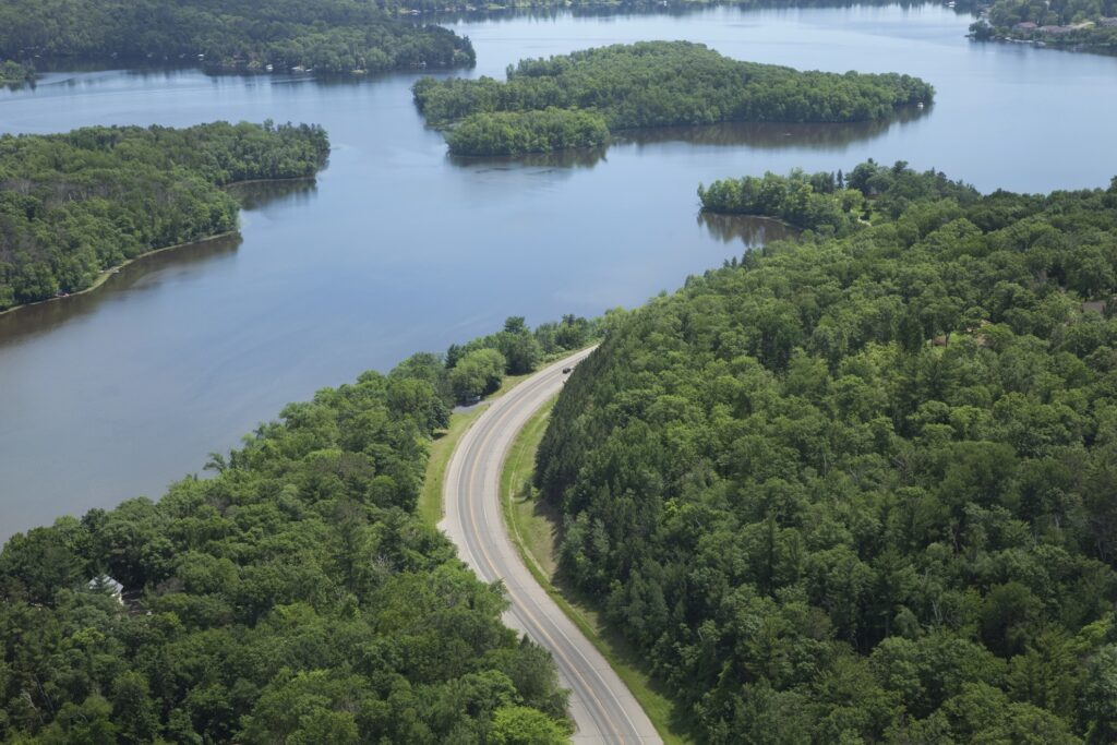 Aerial view of the Mississippi River in Brainerd.