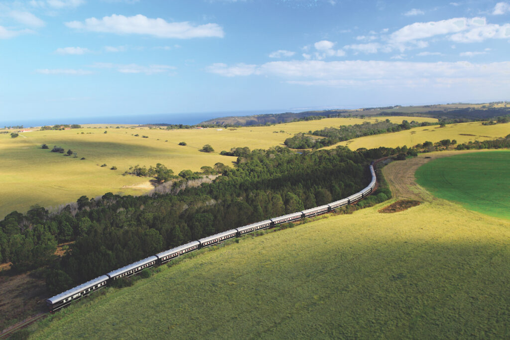 Aerial view of the Rovos Rail train in South Africa.
