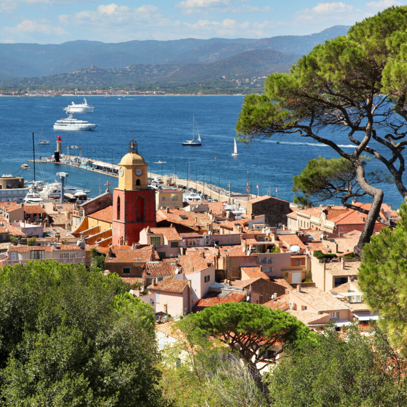 Aerial view of the Saint Tropez harbor in France.