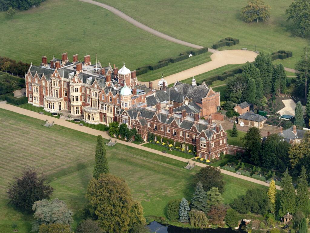 Aerial view of the Sandringham Castle Estate.