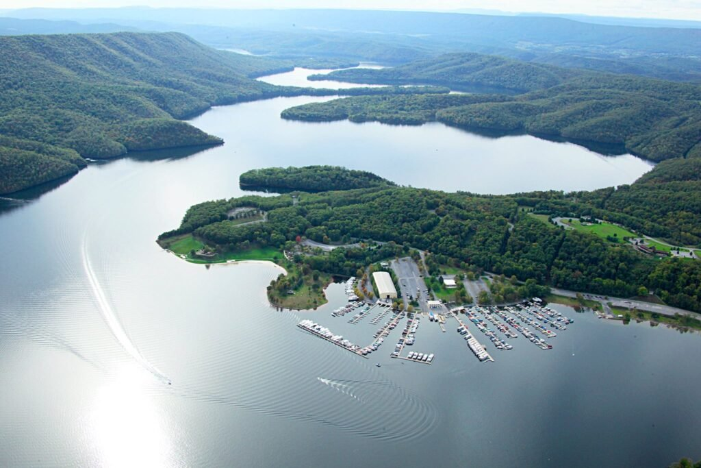 Aerial view of the Seven Points Marina on Raystown Lake.
