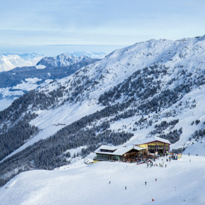 Aerial view of the slops in Kaltenbach, Austria.