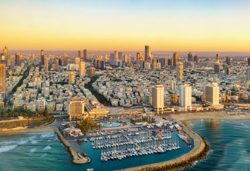 Aerial view of the Tel Aviv skyline.