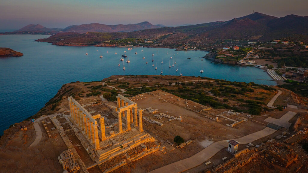 Aerial view of the Temple of Poseidon.