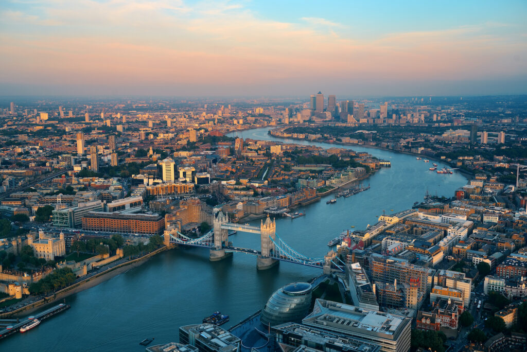 Aerial view of the Thames River in London.