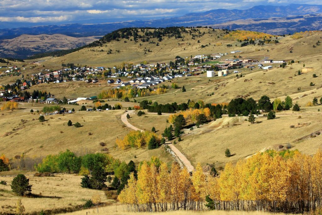 Aerial view of the town of Cripple Creek, Colorado.
