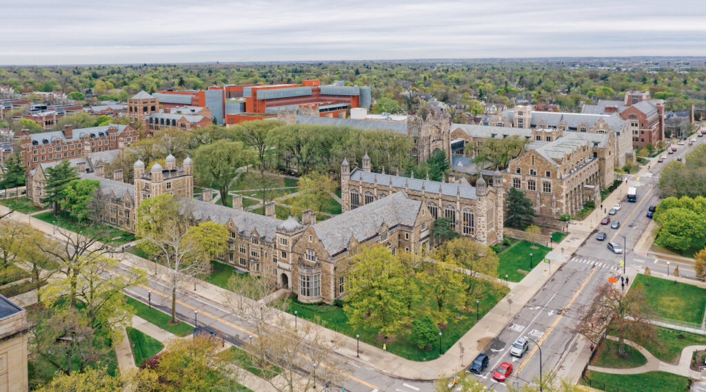Aerial view of the University of Michigan in Ann Arbor.