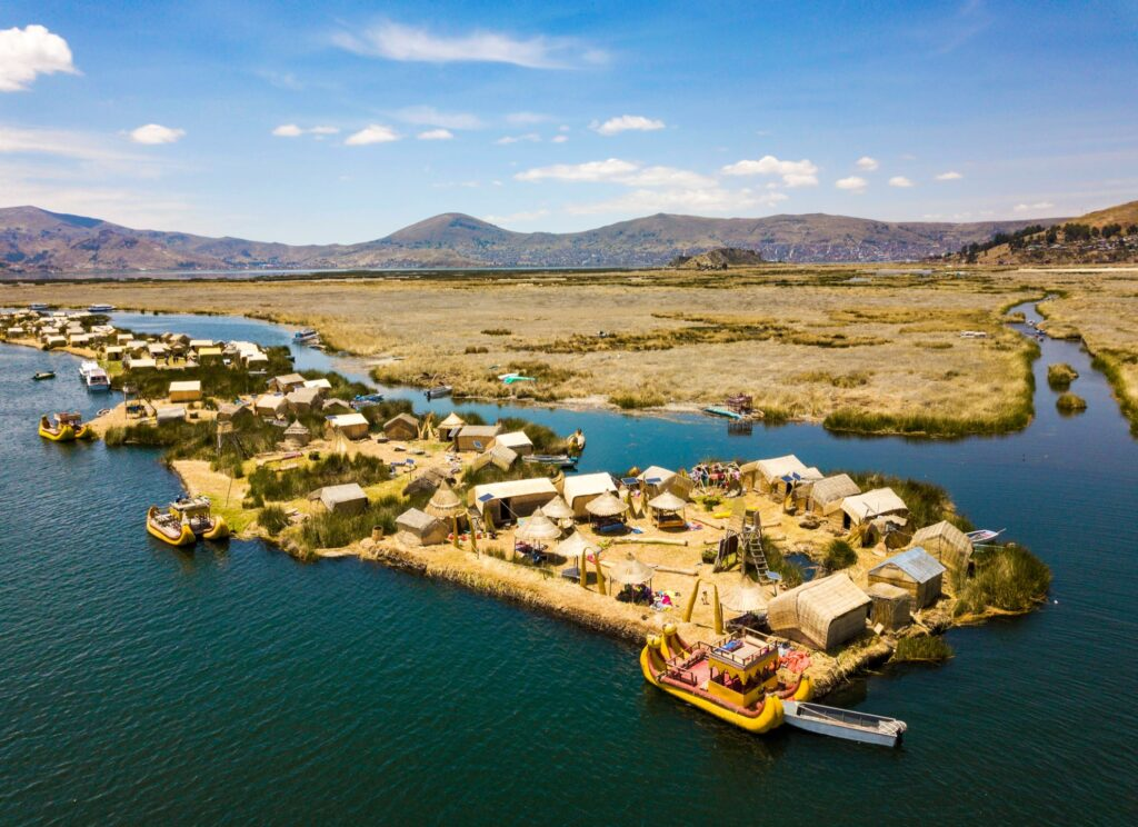 Aerial view of the Uros Islands.