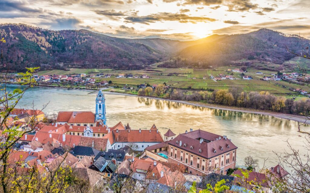 Aerial view of the Wachau Wine Region in Austria.