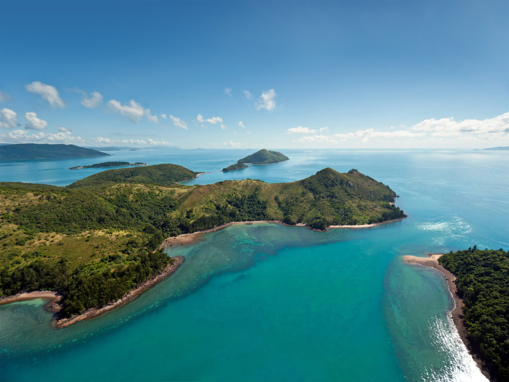 Aerial view of the Whitsunday Islands in Australia.