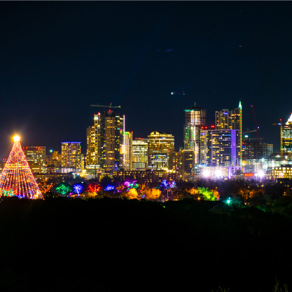 Aerial view of the Zilker Trail of Lights.