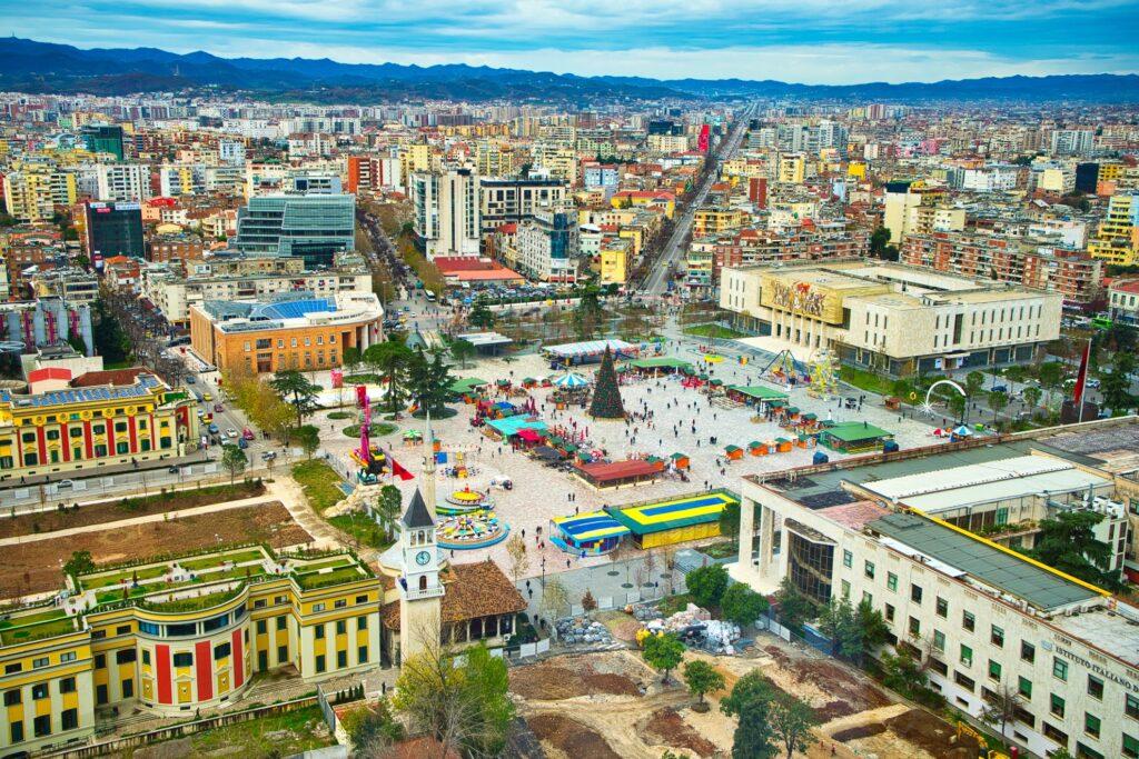 Aerial view of Tirana, Albania.