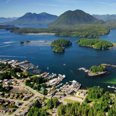 Aerial view of Tofino, Canada.