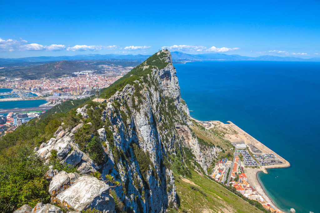Aerial view of top the of Gibraltar Rock.