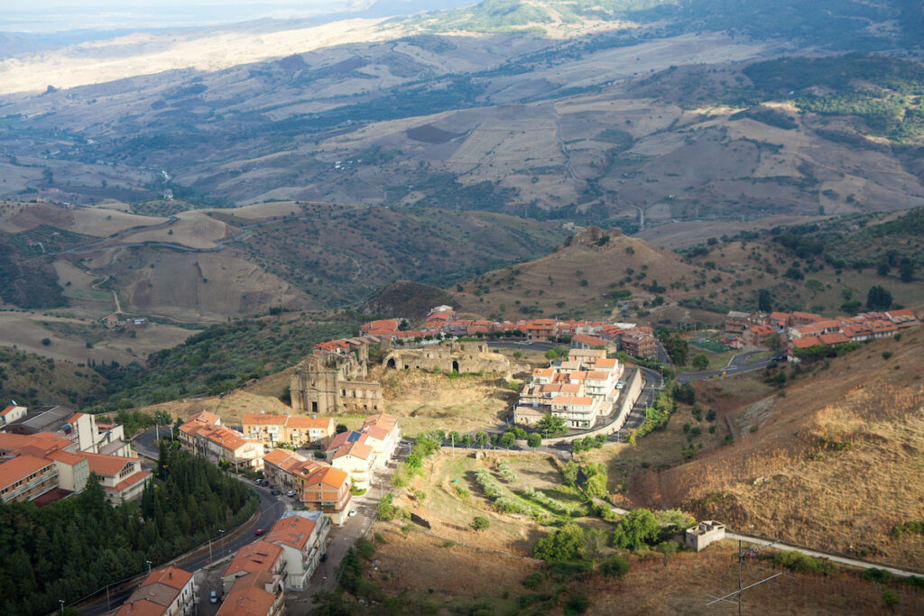 Aerial view of Troina, Sicily, Italy.