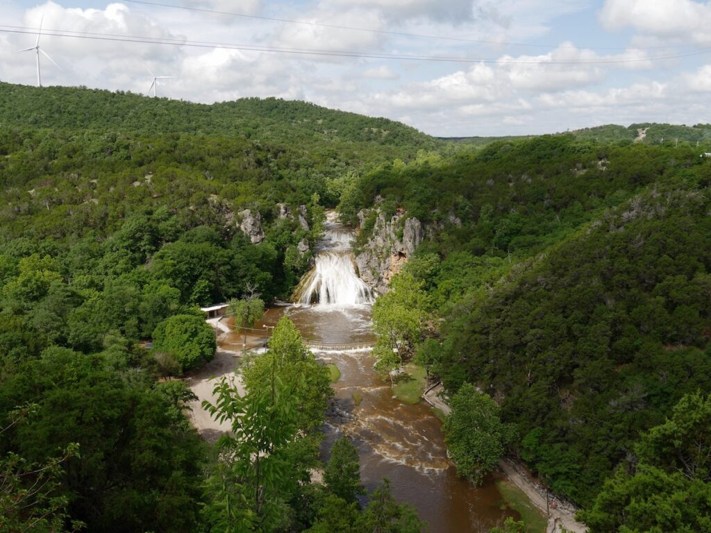 Aerial view of Turner Falls State Park in Oklahoma.