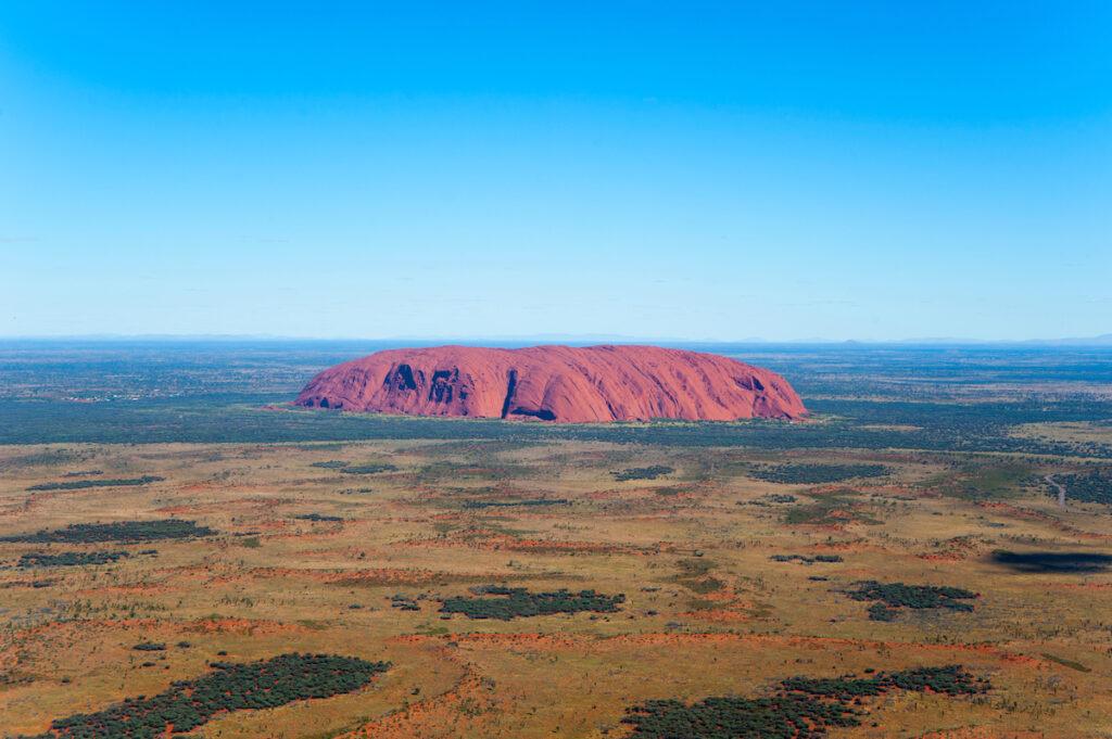 Aerial view of Uluru in Australia.