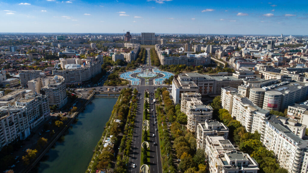 Aerial view of Union Boulevard in downtown Bucharest, Romania.