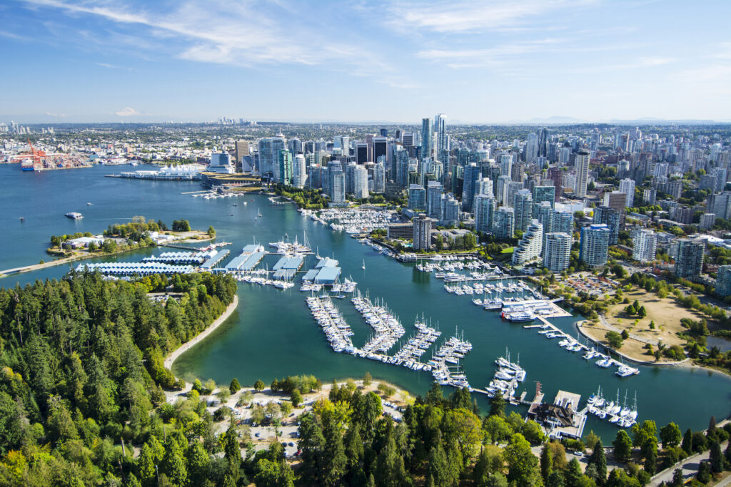 Aerial view of Vancouver, Canada.