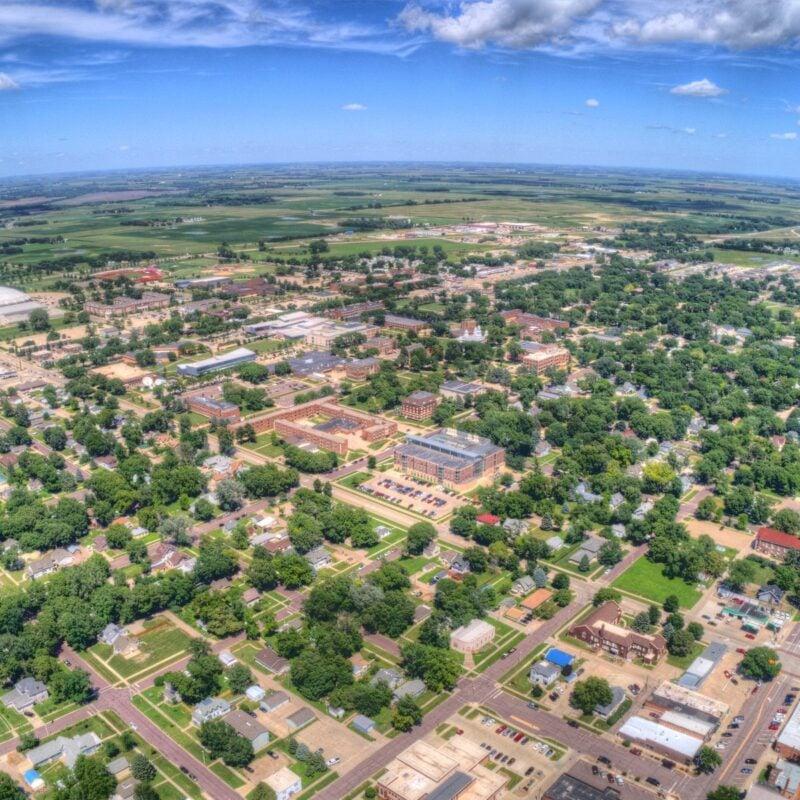 Aerial view of Vermillion, South Dakota.