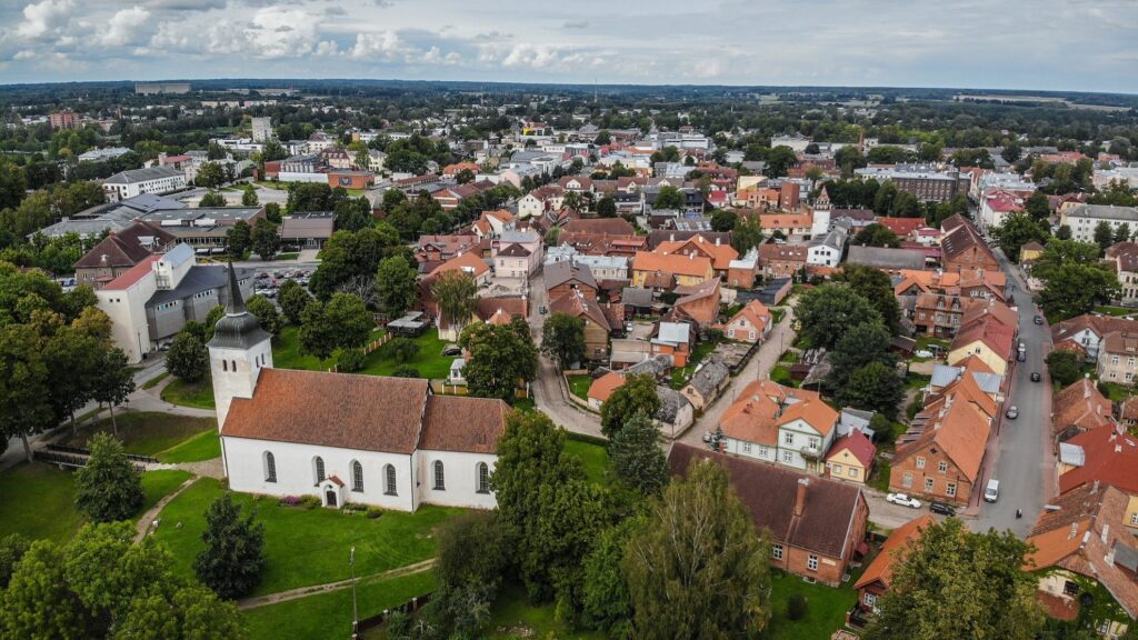 Aerial view of Viljandi, Estonia.