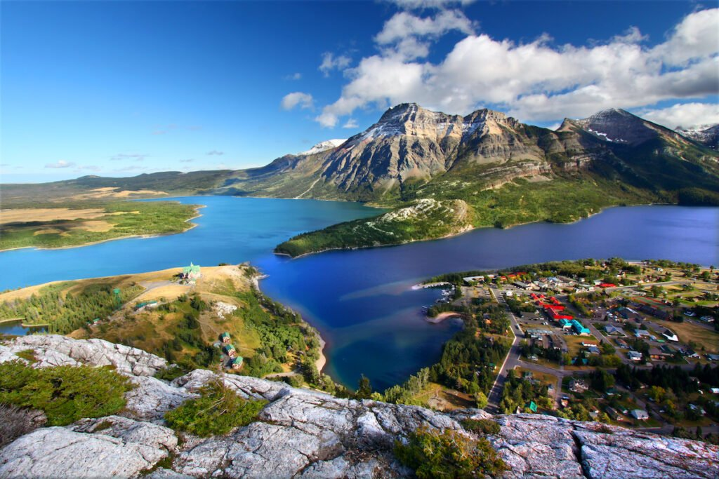 Aerial view of Waterton in Waterton Lakes National Park, Alberta.