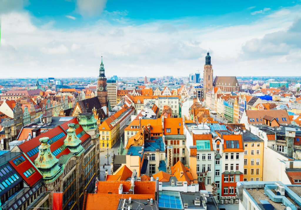 Aerial view of Wroclaw, Poland.