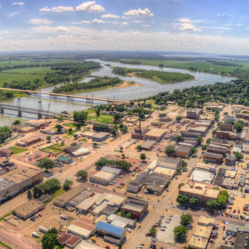 Aerial view of Yankton, South Dakota.