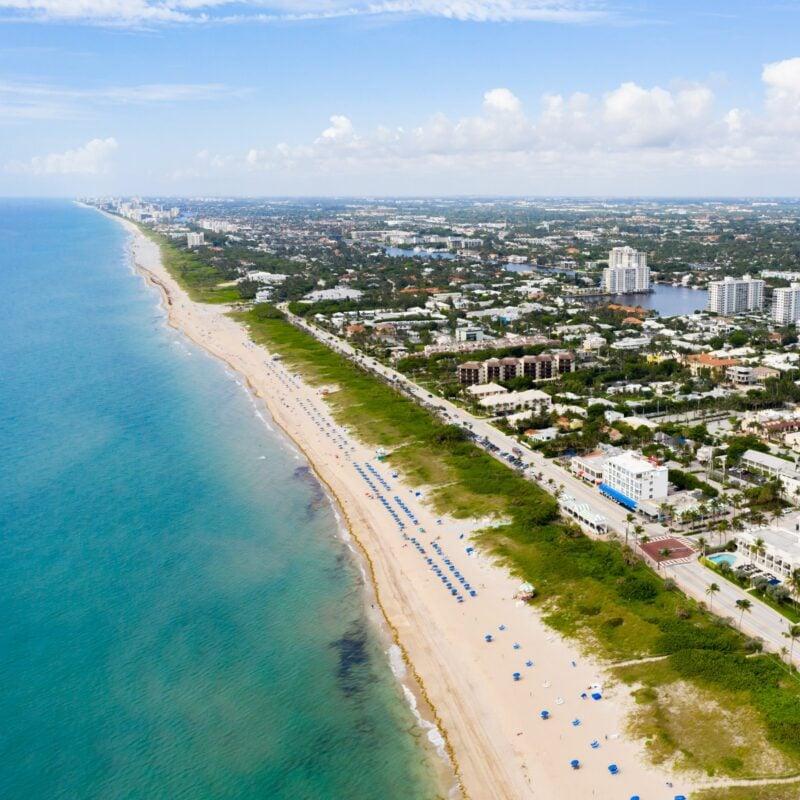 Aerial views of Delray Beach, Florida.