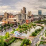 Aerial views of downtown Toledo, Ohio.
