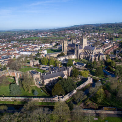 Aerial views of Wells, England.