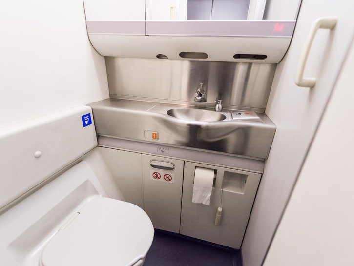 Airplane bathroom sink and toilet